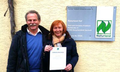 Ehrenurkunde für 25 Jahre Mitgliedschaft bei Naturland