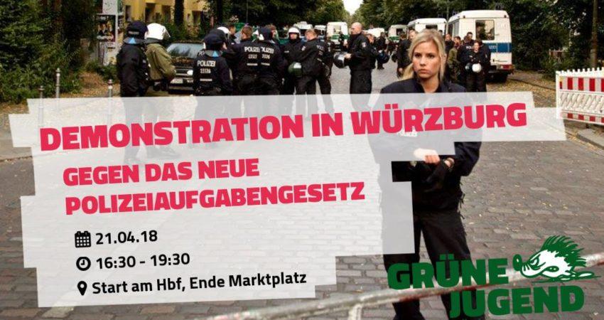 Demonstrationszug gegen das neue Polizeiaufgabengesetz