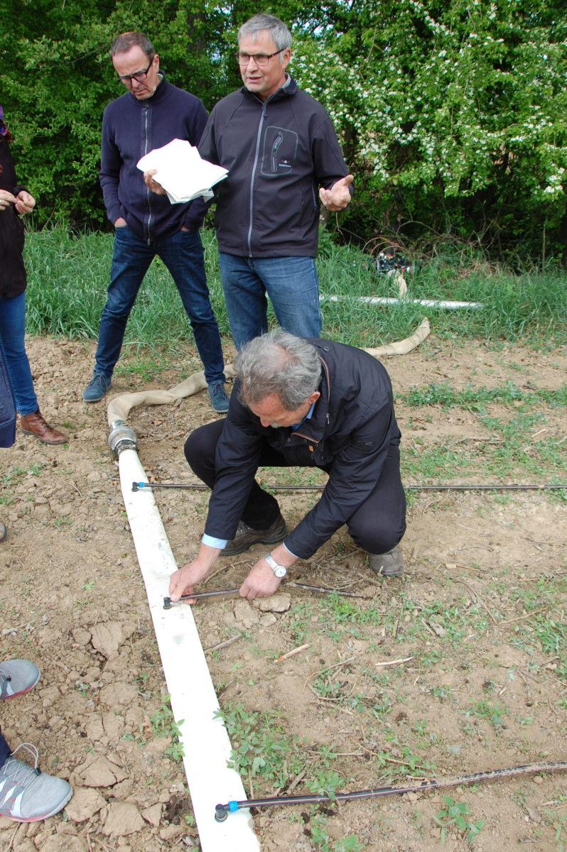 Paul Knoblach inspiziert die Tröpfchen-Bewässerung auf dem Biohof von Thomas Schwab in Remlingen.