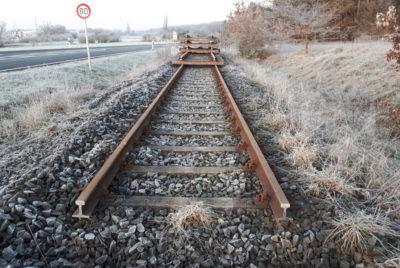 Gleisabbau an der strecke der Steigerwaldbahn