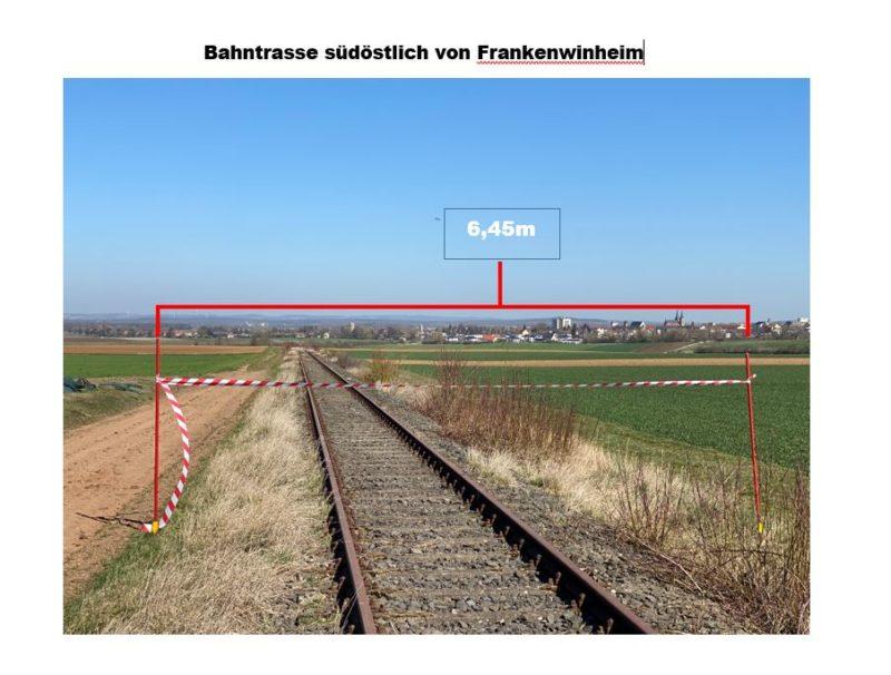 Bahntrasse mit 6,45 m Breite südöstlich von Frankenwinheim. Foto: BUND Naturschutz in Bayern (BN), Edo Günther
